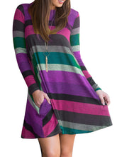 Load image into Gallery viewer, Round Neck  Striped Shift Dress