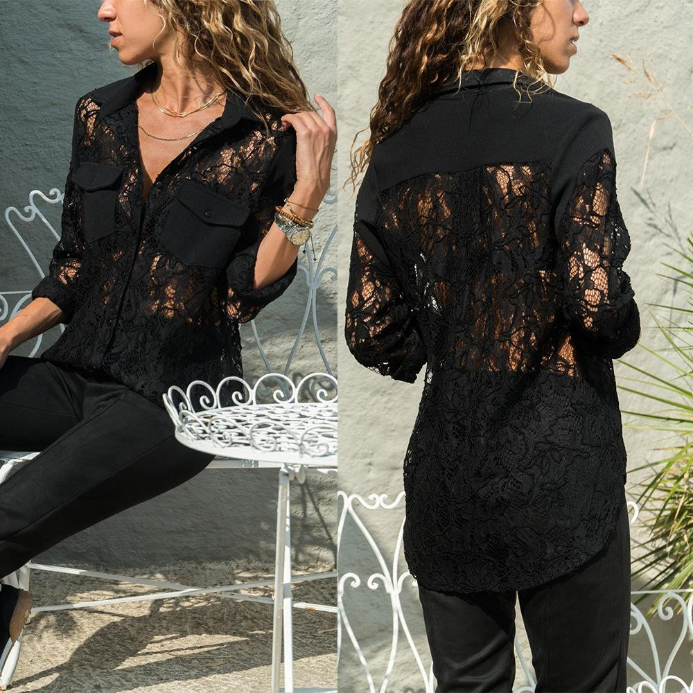 Lapel Lace Chiffon Patchwork Pocket Long Sleeve Elegant Blouses