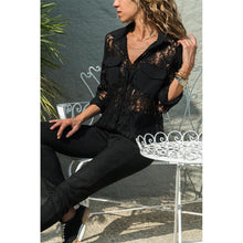 Load image into Gallery viewer, Lapel Lace Chiffon Patchwork Pocket Long Sleeve Elegant Blouses