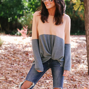 Round Neck Long Sleeve Color Block Fashion T-Shirts