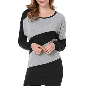 Autumn And Winter Long Sleeve Stitching Knit Dress