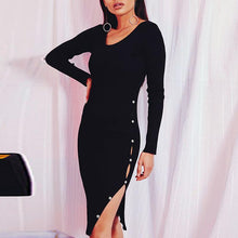 Load image into Gallery viewer, Round Neck Long Sleeve Knitting Sexy Split Bodycon Dress