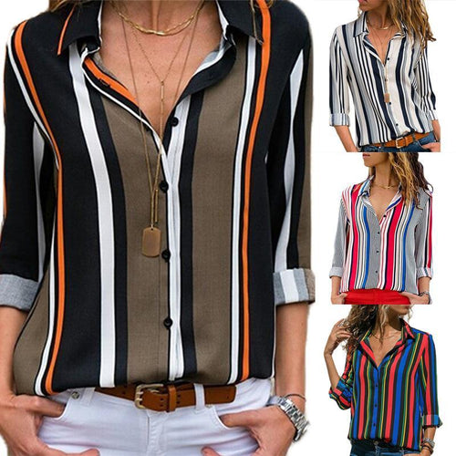 Casual Slim Colorful   Striped V Neck Long Sleeved Chiffon Blouses