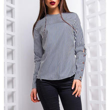 Load image into Gallery viewer, Round Neck Long Sleeve Button Fashion Blouses