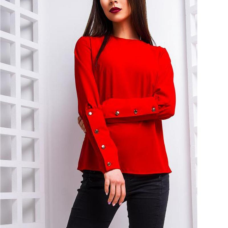 Round Neck Long Sleeve Button Fashion Blouses