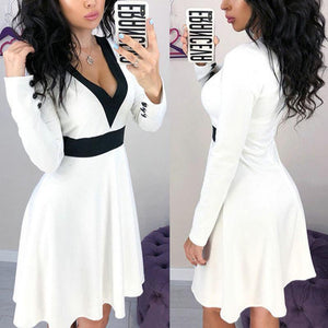 V Neck Long Sleeve Color Block Long Sleeve Skater Dress