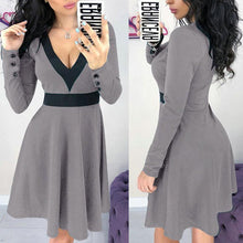 Load image into Gallery viewer, V Neck Long Sleeve Color Block Long Sleeve Skater Dress