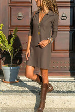Load image into Gallery viewer, Deep V Neck  Plain  Long Sleeve Casual Dresses