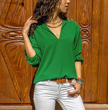 Load image into Gallery viewer, Casual Fashion Pure   Color V Neck Long Sleeve Irregular Blouses