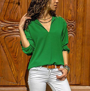 Casual Fashion Pure   Color V Neck Long Sleeve Irregular Blouses