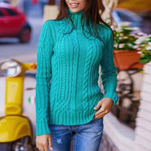 Load image into Gallery viewer, Turtle Neck Plain Long Sleeve Knitting Elegant Sweaters