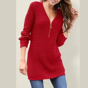 Zipper Sexy Deep V Neck Sweater