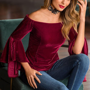 Off Shoulder Flare Sleeve  Velvet  T-Shirts