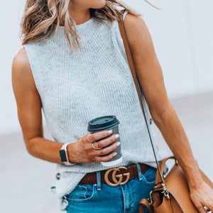 Crew Neck Sleeveless Solid Sweater