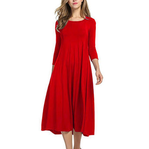 Round Neck Long Sleeved Solid Color Dress