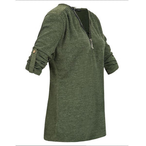 Zipper V Neck Roll Up Sleeves Casual T-Shirts