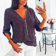 Load image into Gallery viewer, Zipper V Neck Printed Casual Blouses