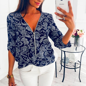Zipper V Neck Printed Casual Blouses