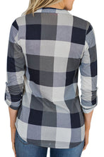 Load image into Gallery viewer, V Neck  Asymmetric Hem  Gingham  Blouses