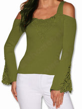 Load image into Gallery viewer, Casual Off-Shoulder Lace Splicing Pure Colour T-Shirt