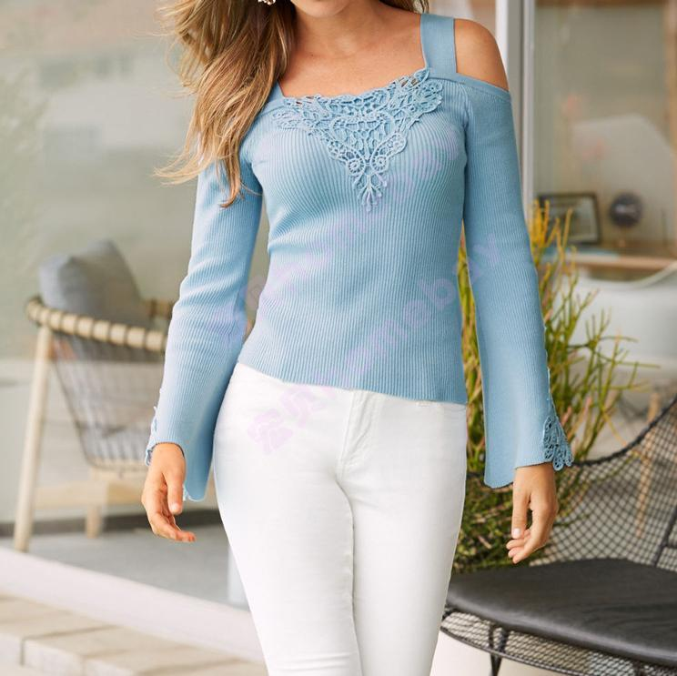 Casual Off-Shoulder Lace Splicing Pure Colour T-Shirt