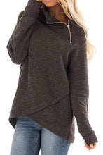 Load image into Gallery viewer, High Neck  Zipper  Plain Sweatshirts