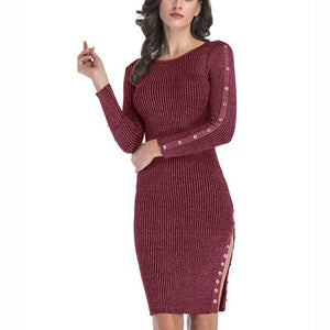 Knitted  Casual Long Sleeve Bodycon Dress