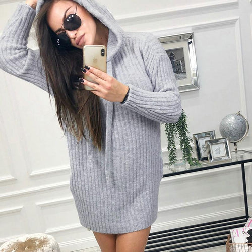 Hooded Long Sleeve Plain Knitting Casual Dress