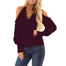 Load image into Gallery viewer, Halter Hollow Out V Neck Long Lantern Sleeve T-Shirts