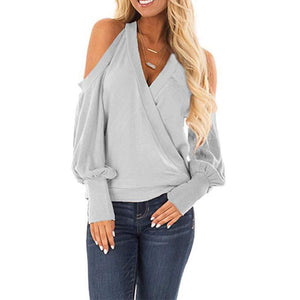 Halter Hollow Out V Neck Long Lantern Sleeve T-Shirts