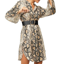 Load image into Gallery viewer, V Neck Long Flare Sleeve Snake Printed Split Hem Casual Dresses