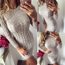 Load image into Gallery viewer, Round Neck Long Sleeve Plain Fitting Knitting Bodycon Dresses