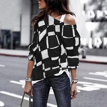 Load image into Gallery viewer, Fashion Sloping Shoulder Check Loose Long Sleeve T-Shirt