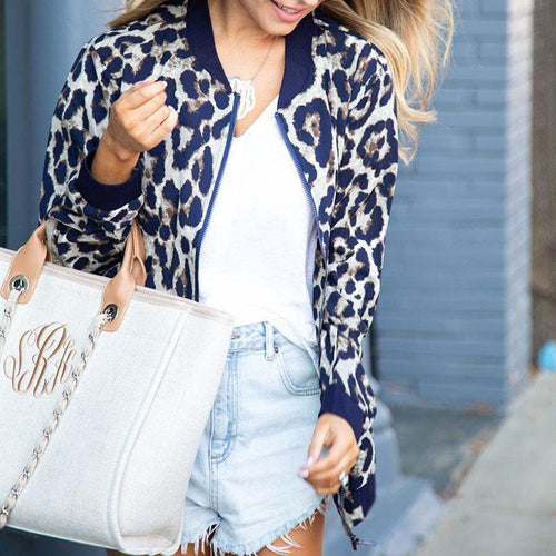 Leopard Printed Long Sleeve Casual Jackets