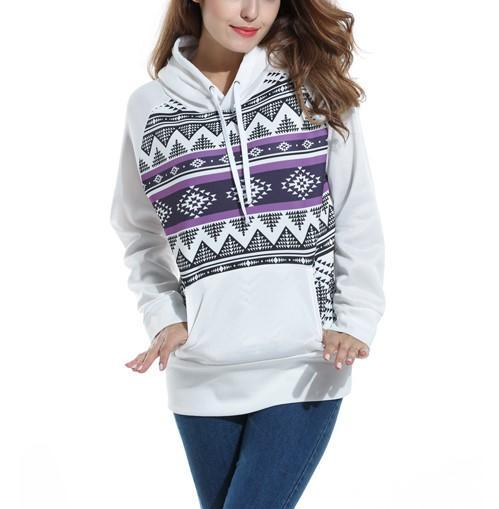 Raglan Sleeves Hooded Printed Sweater