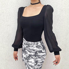 Load image into Gallery viewer, Square Collar Long Lantern Sleeve Chiffon Patchwork Elegant Blouses