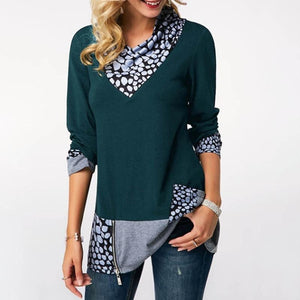 Asymmetrical Hem Patchwork Zipper Casual T-Shirts