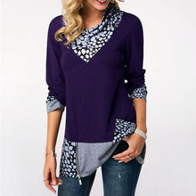 Load image into Gallery viewer, Asymmetrical Hem Patchwork Zipper Casual T-Shirts