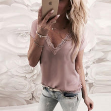 Load image into Gallery viewer, V Neck Lace Patchwork Short Sleeve Elegant Blouses