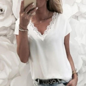 V Neck Lace Patchwork Short Sleeve Elegant Blouses