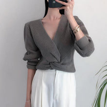 Load image into Gallery viewer, Casual V Cvollar Plain Loose Cross Short Sweater