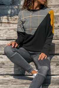 Round Neck  Patchwork  Color Block  Sweatshirts