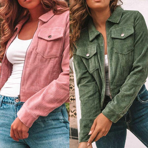 Lapel Pocket Long Sleeve Zipper Fashion Jackets