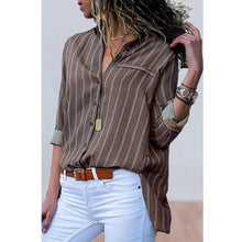 Load image into Gallery viewer, Lapel Stripes Long Sleeve Casual Blouses