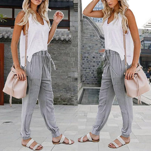 Elastic Waist Fashion Chiffon Pants