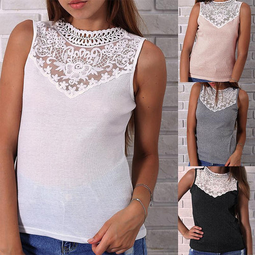 Round Neck Lace Patchwork Sleeveless Camis