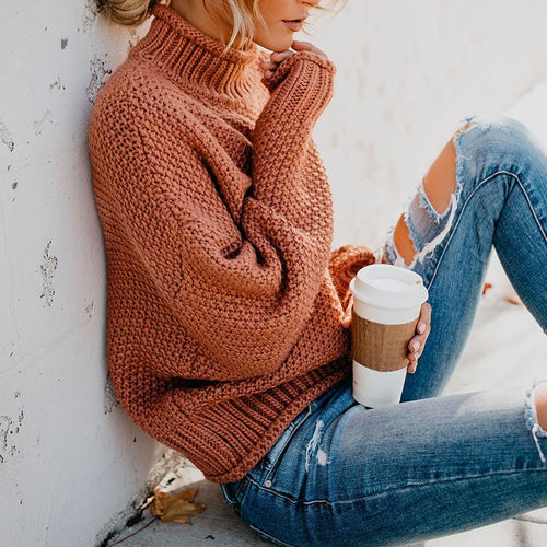 Fashion High Collar Pure Colour Loose Sweaters