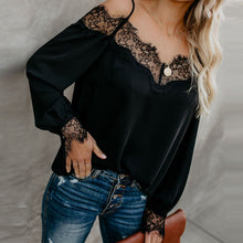 Load image into Gallery viewer, Spaghetti Straps Lace Patchwork Long Sleeve Blouses
