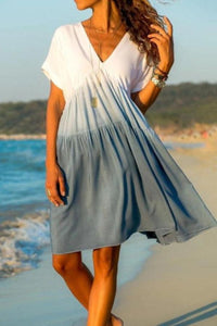 V Neck  Gradient  Short Sleeve Casual Dresses
