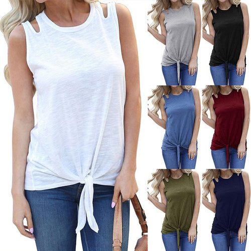 Round Neck Hollow Out Sleeveless Plain Camis